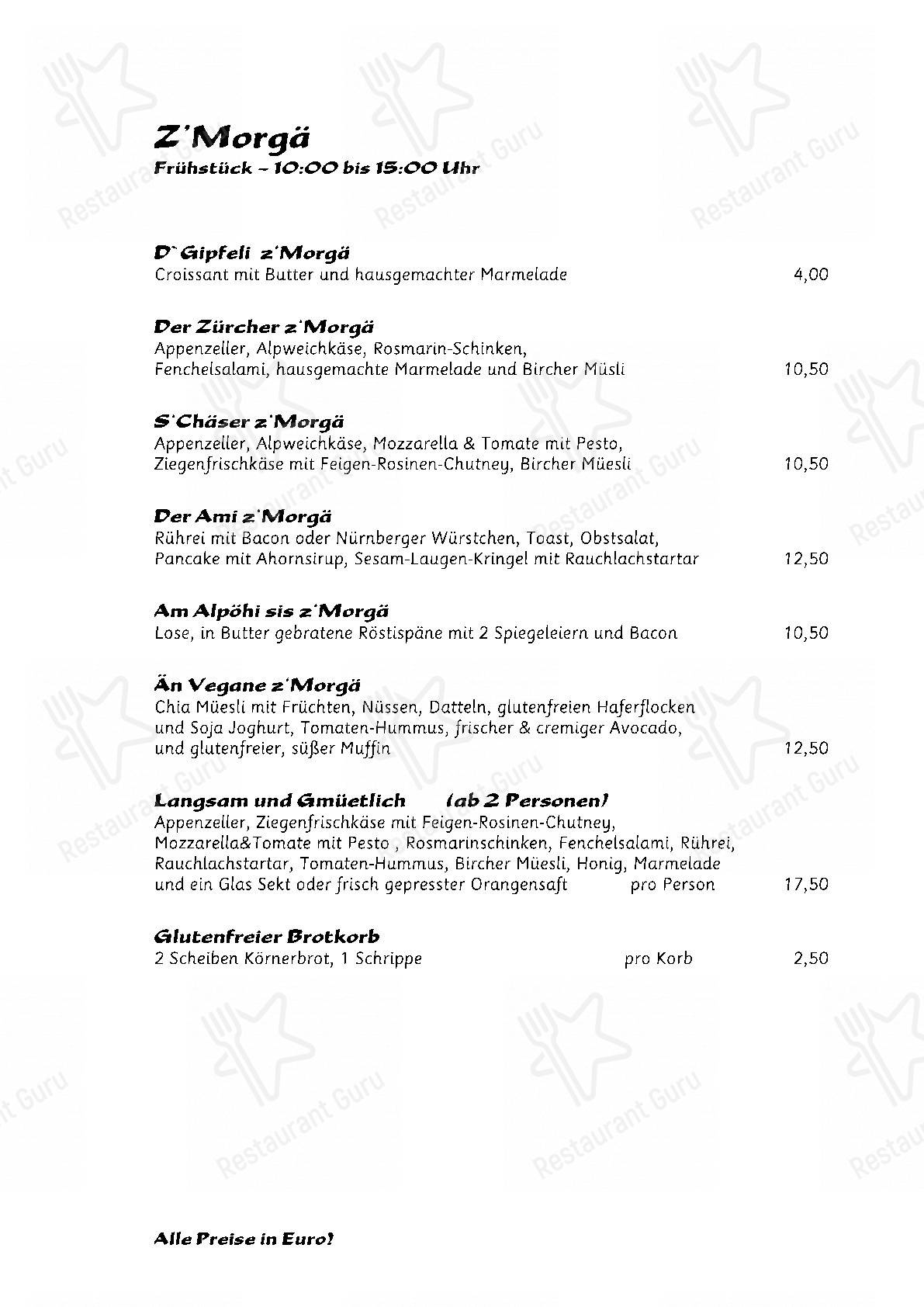 Menu for the Nola's am Weinberg restaurant