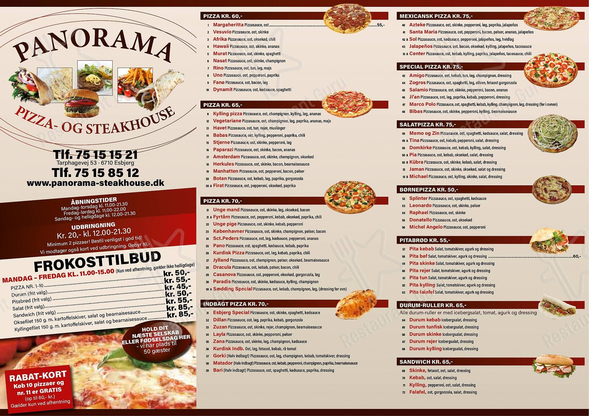 Menu At Panorama Pizza Steakhouse Esbjerg