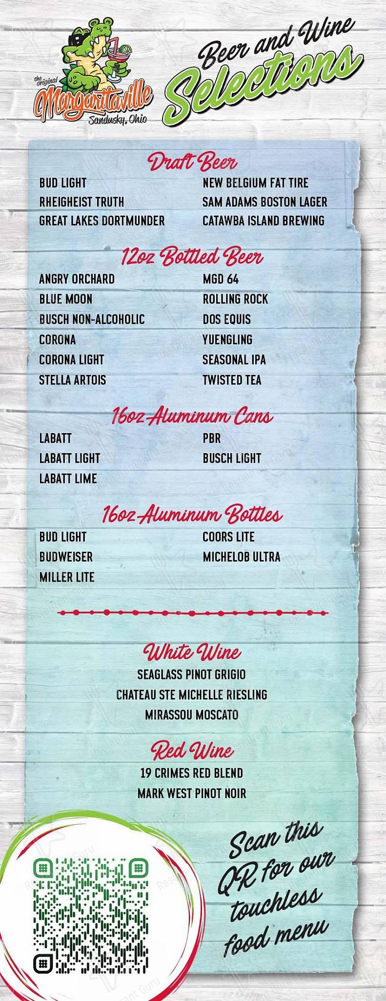 Menu for the Original Margaritaville pub & bar