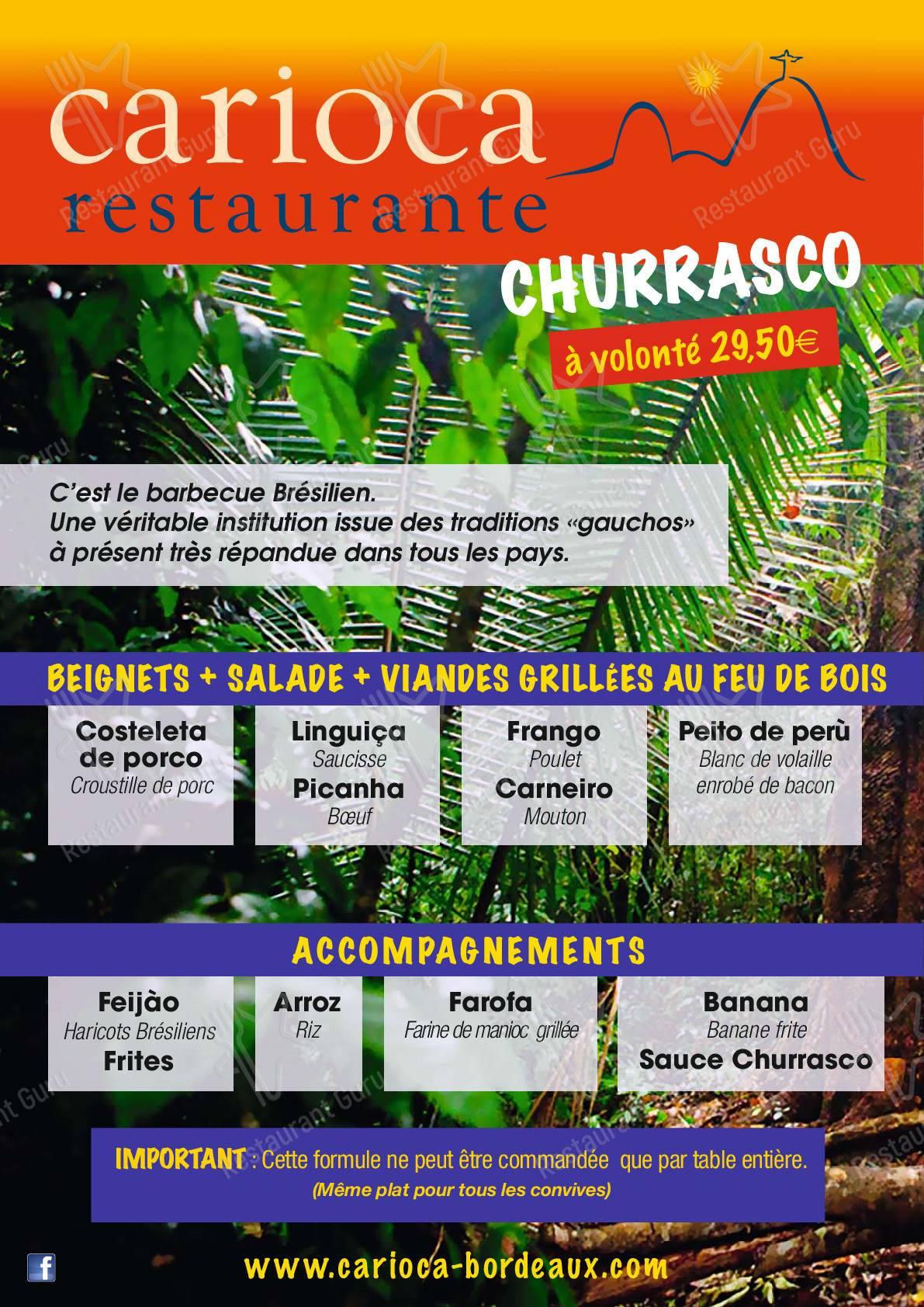 Menu pour Carioca Restaurante