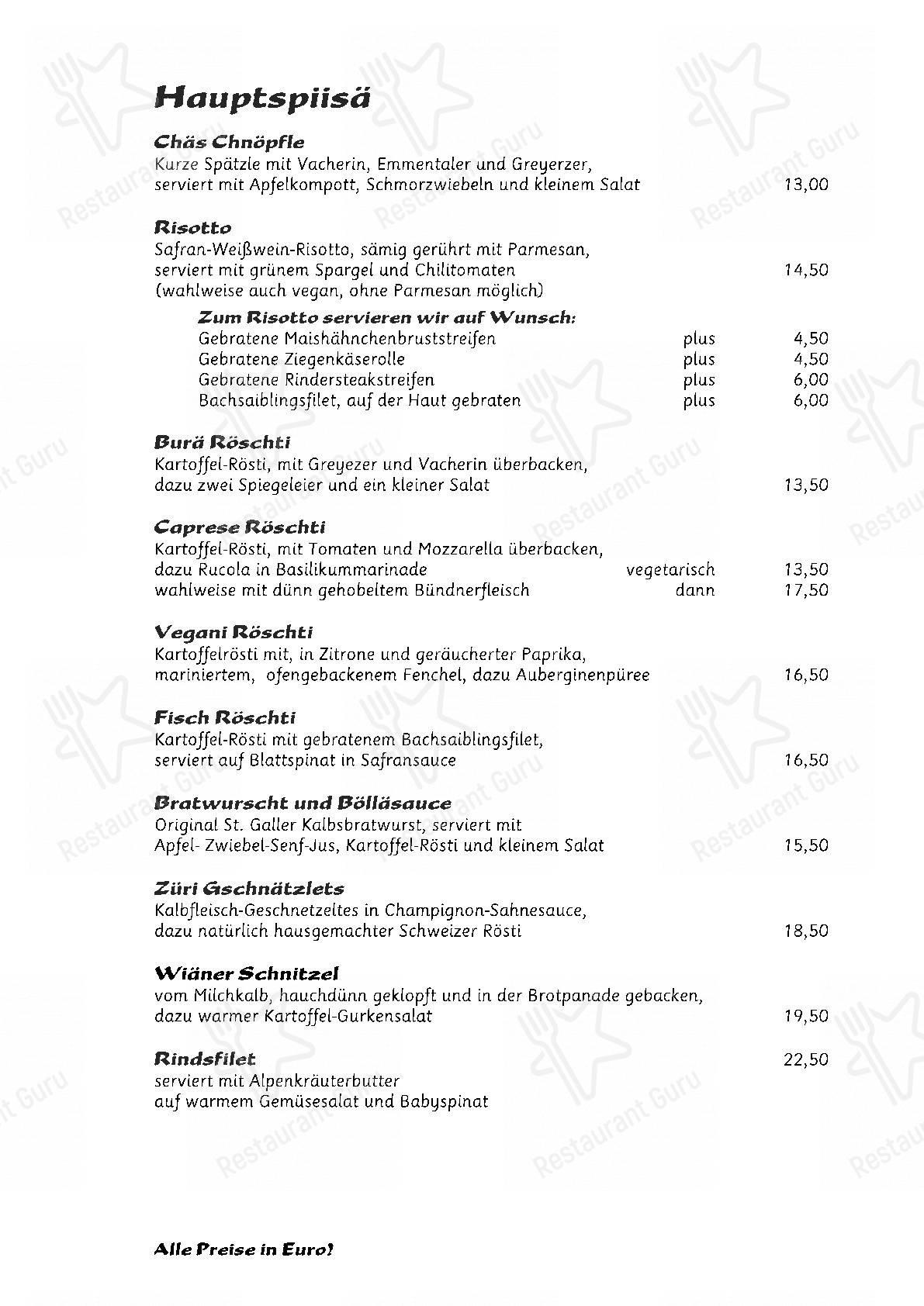 Nola's am Weinberg menu