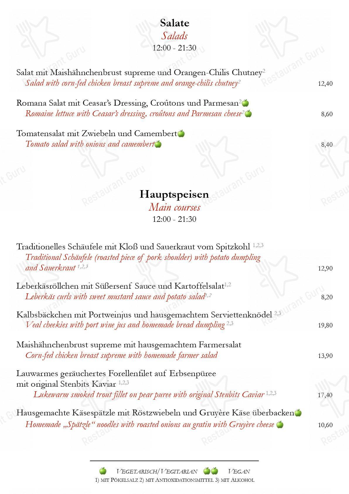Speisekarte von Zum Albrecht Dürer Haus restaurant