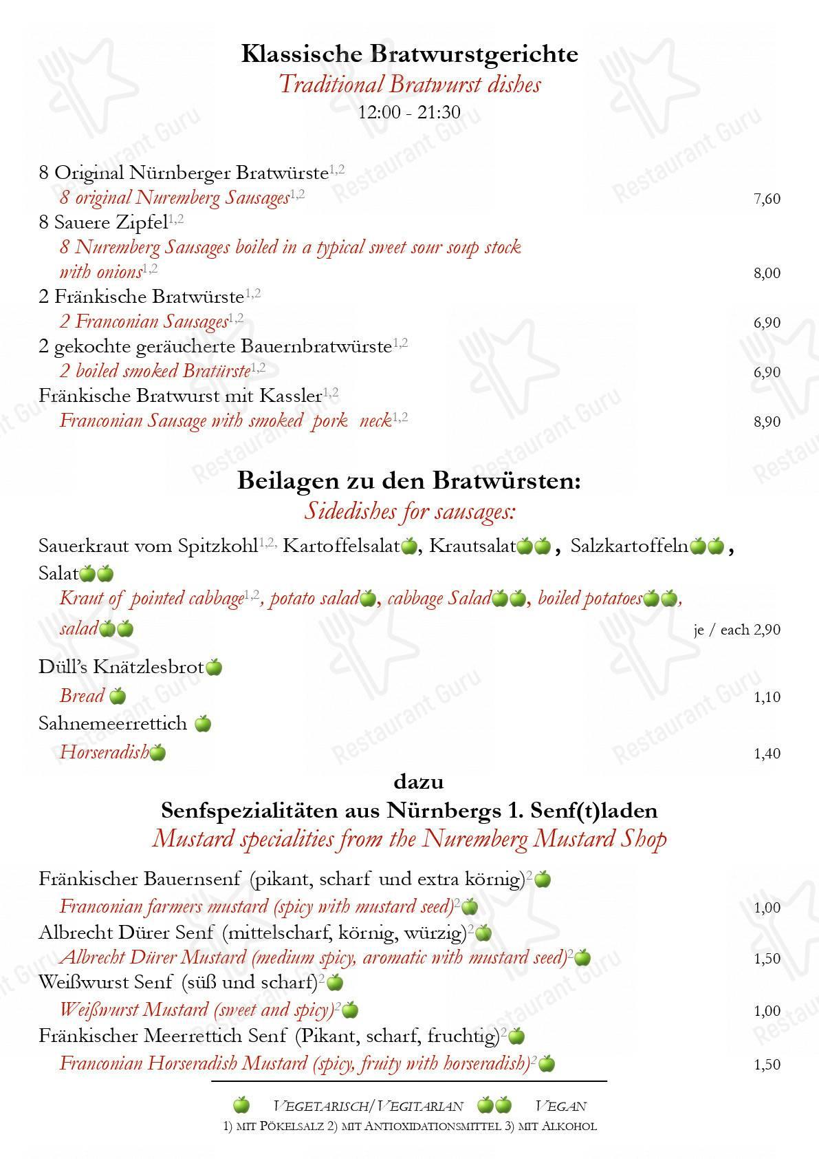Zum Albrecht Dürer Haus Speisekarte - Essen und Getränke