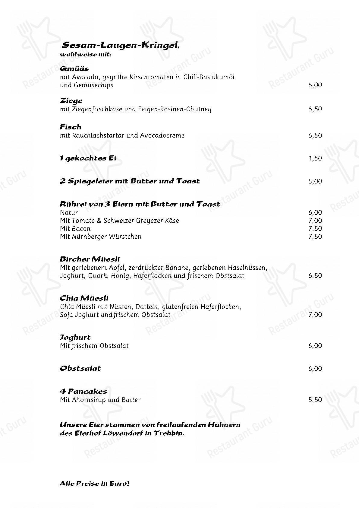 Nola's am Weinberg menu - meals and drinks