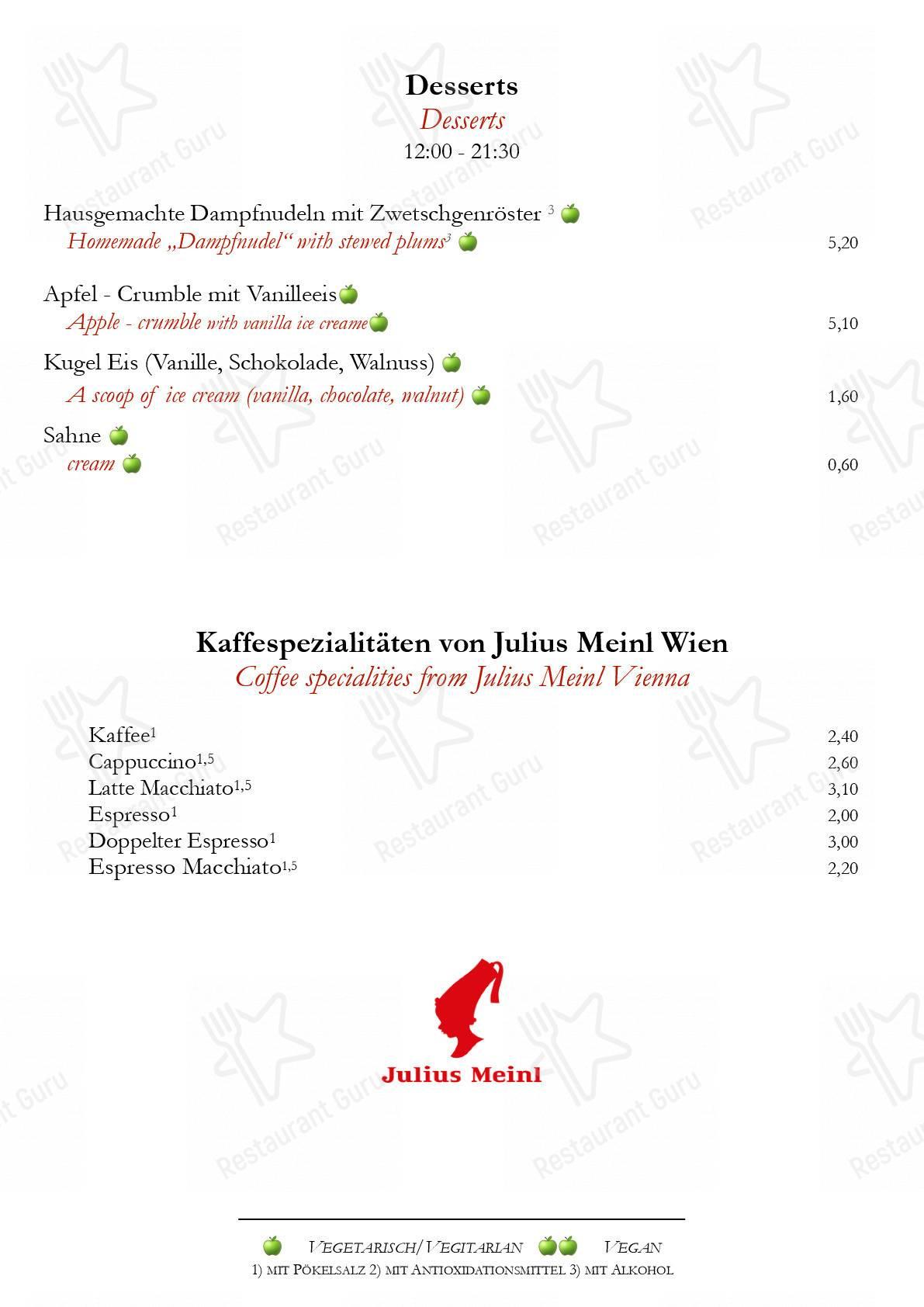 Zum Albrecht Dürer Haus Speisekarte