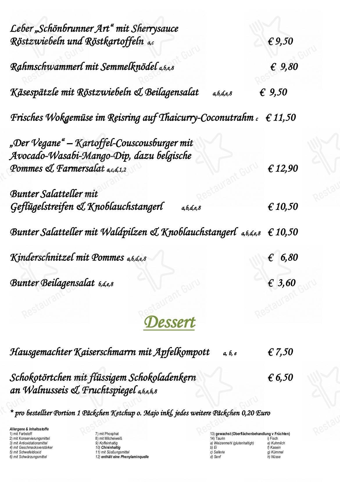 Speisekarte Von Tafernwirtschaft Schonbrunn Restaurant Landshut