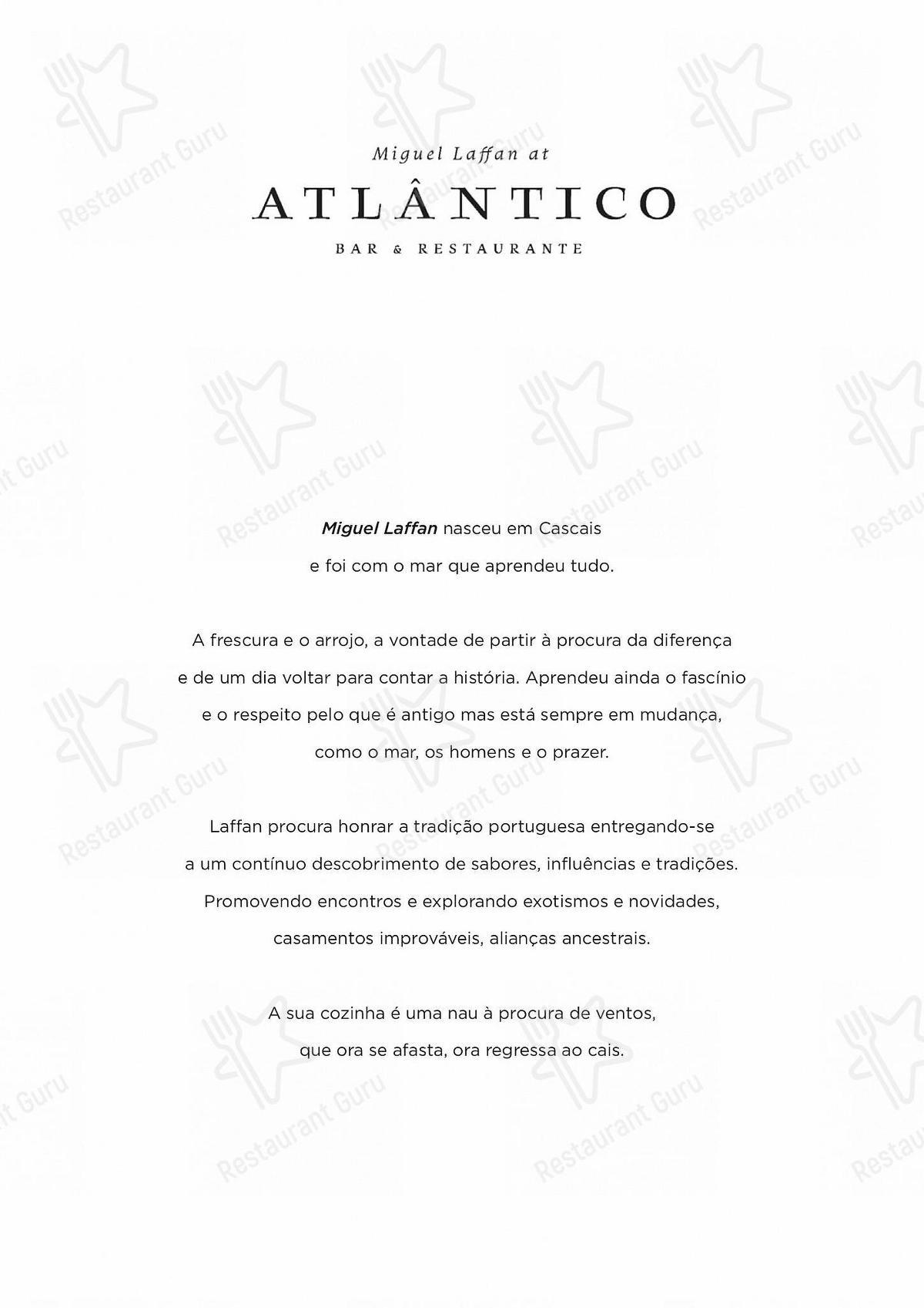 Carta de Atlântico Bar & Restaurante - comidas y bebidas