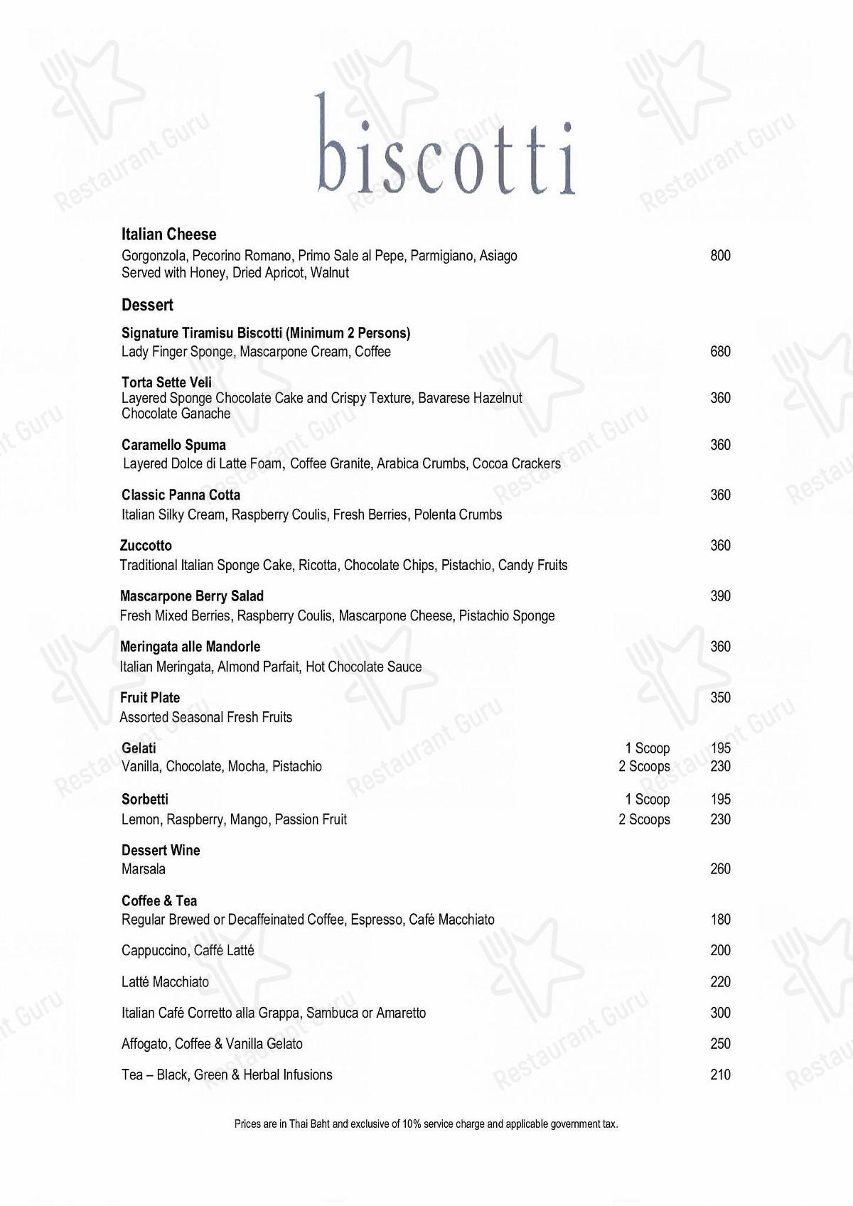 Biscotti menu - dishes and beverages