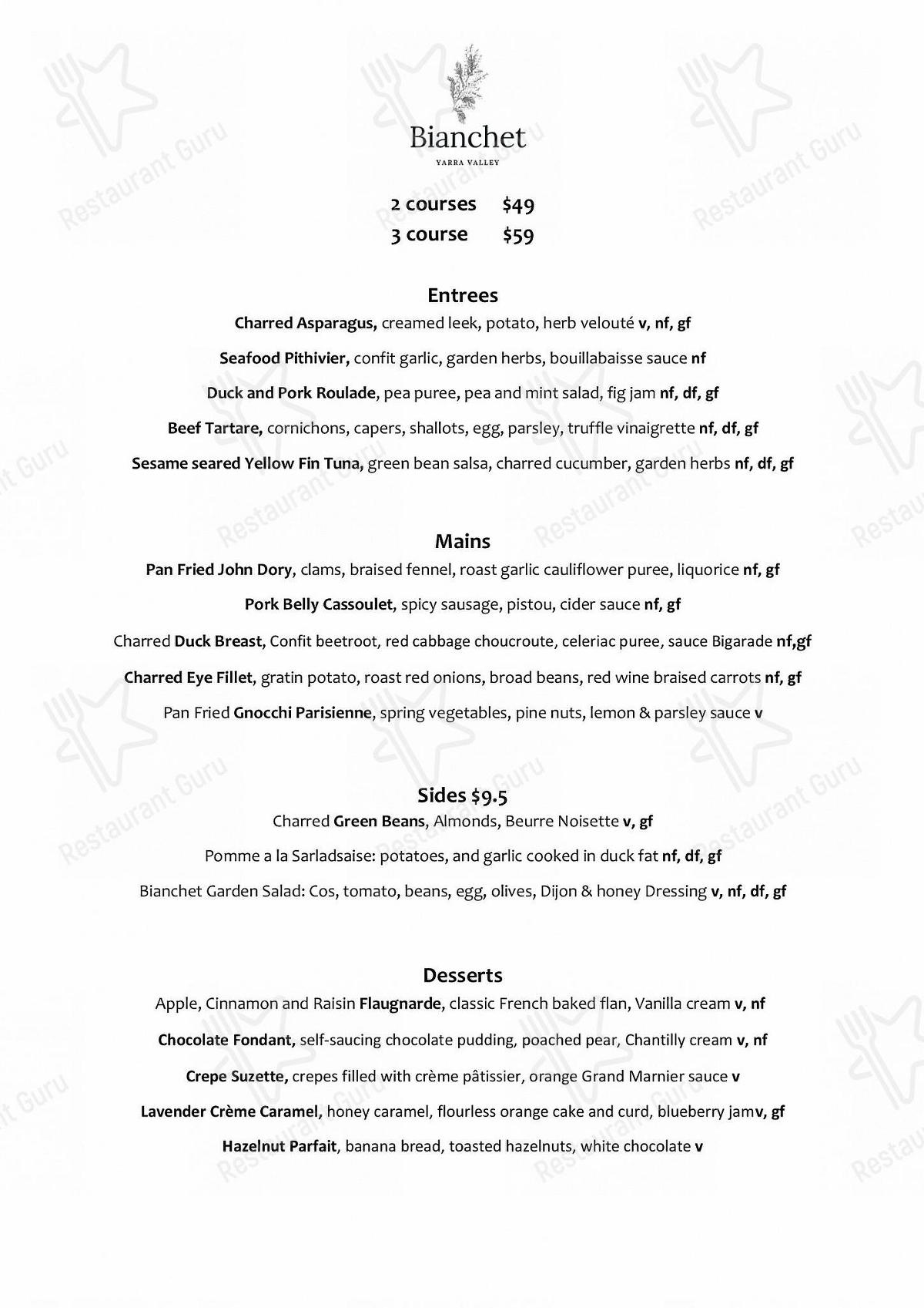 Bianchet Yarra Valley menu - dishes and beverages