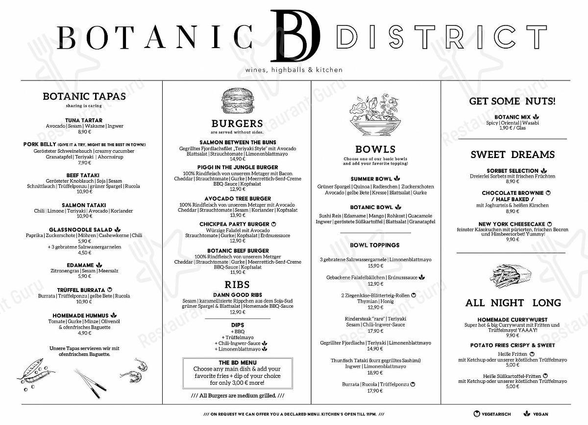 Carta de Botanic District - platos y bebidas