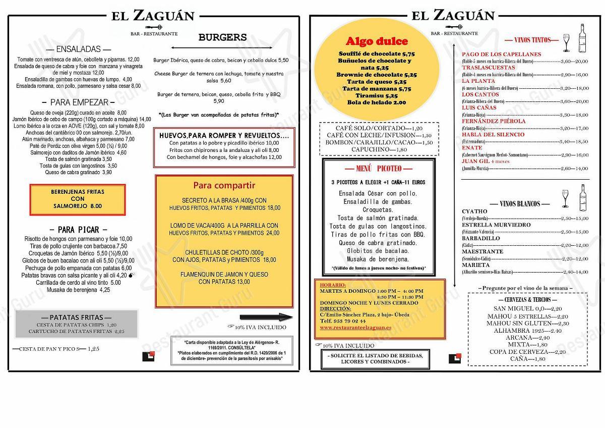 Carta de El Zaguán - comidas y bebidas