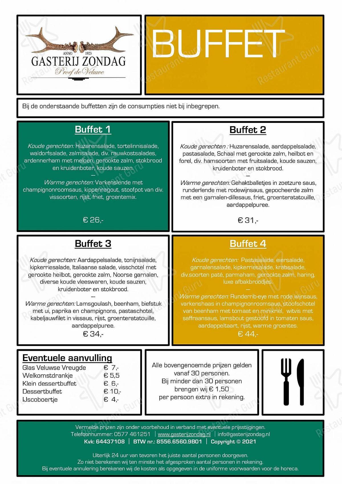 Gasterij Zondag menu