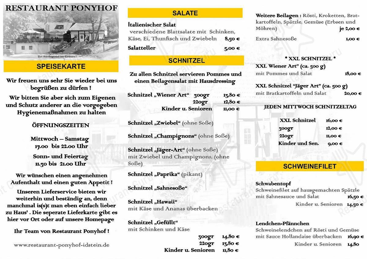 Меню для посетителей ресторана Restaurant Ponyhof Idstein
