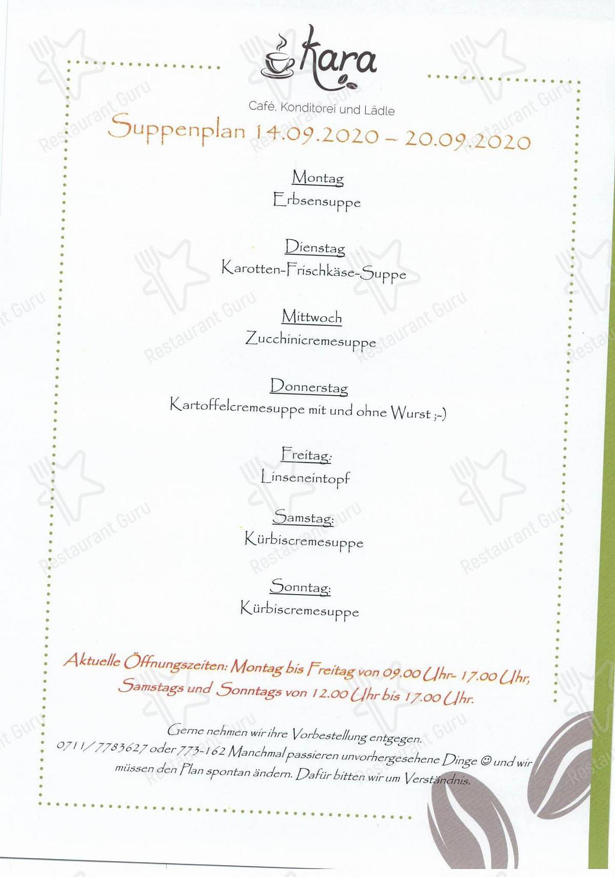 Взгляните на меню Kara Cafe Und So Viel Mehre