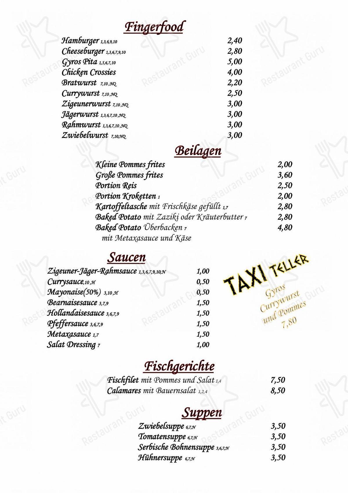 Kostas TaverneImbiss Pizzeria Speisekarte - Gerichte und Getränke