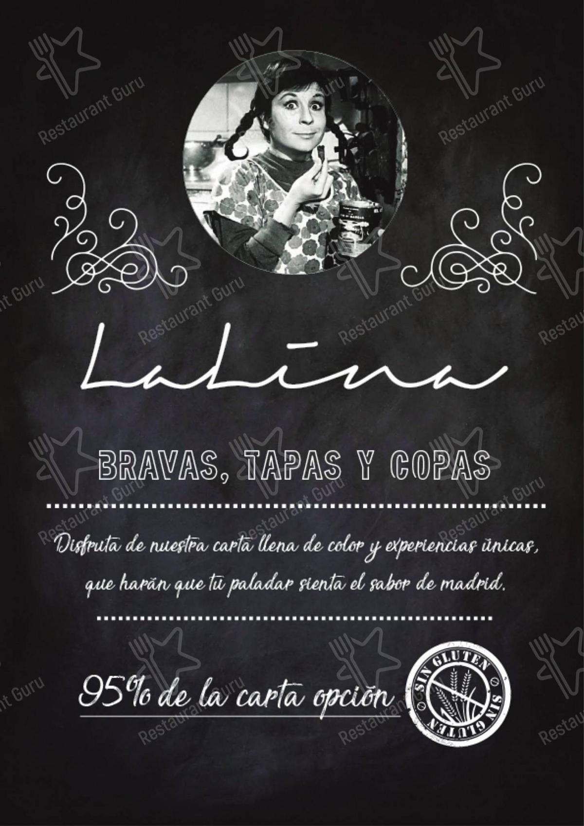 Carta de LaLina - comidas y bebidas