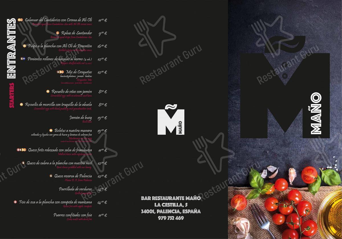 Mira la carta de Restaurante - Bar Maño