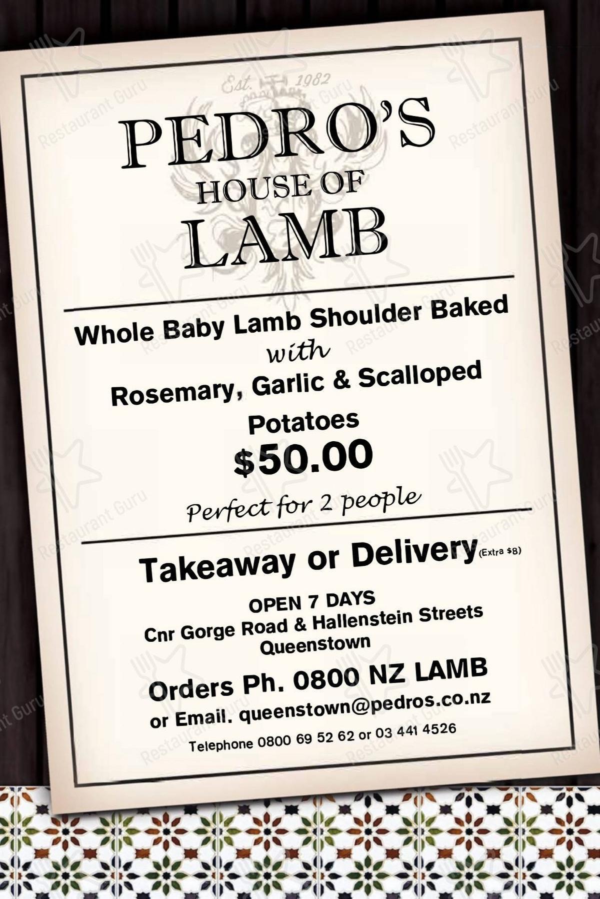 Взгляните на меню Pedro's House of Lamb