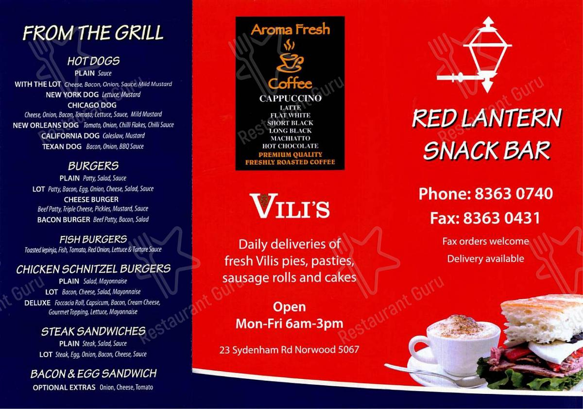Menu for the Red Lantern Snack Bar restaurant