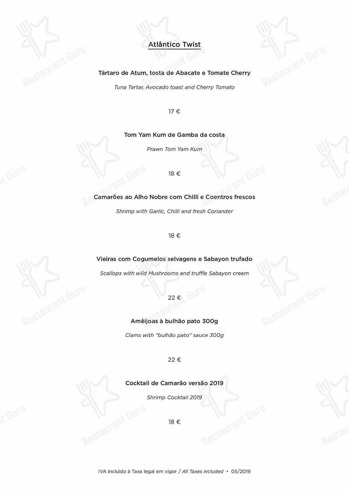 Carta de Atlântico Bar & Restaurante - platos y bebidas