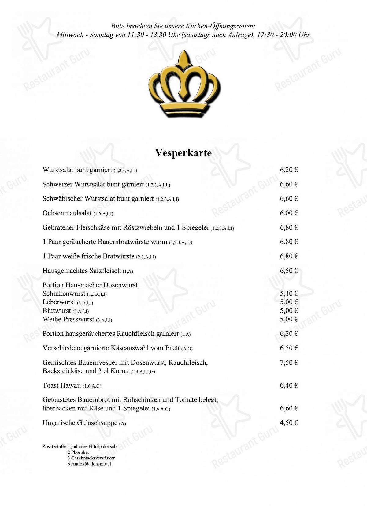 Speisekarte Von Gasthaus Krone Adelstetten Fam Markus Beisswenger Restaurant Alfdorf