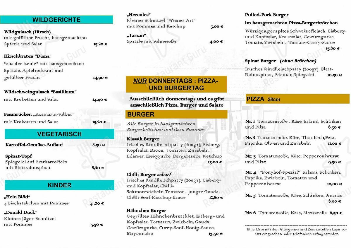 Взгляните на меню Restaurant Ponyhof Idstein