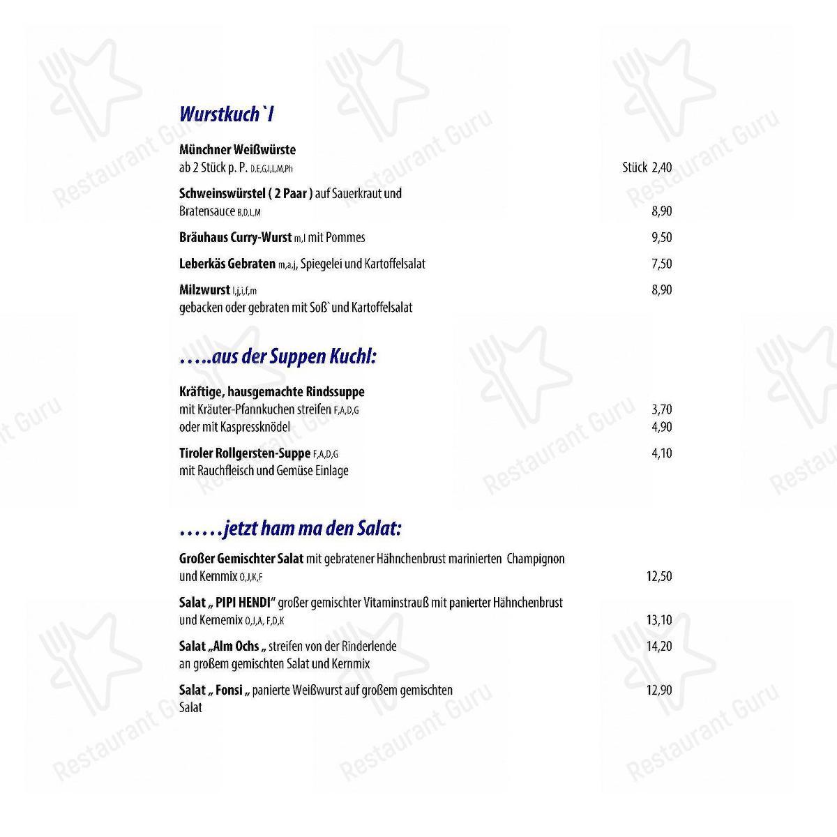 Menu At Schneider Weisse Brauhaus Berg Am Laim Restaurant Munich Baumkirchner Str 5