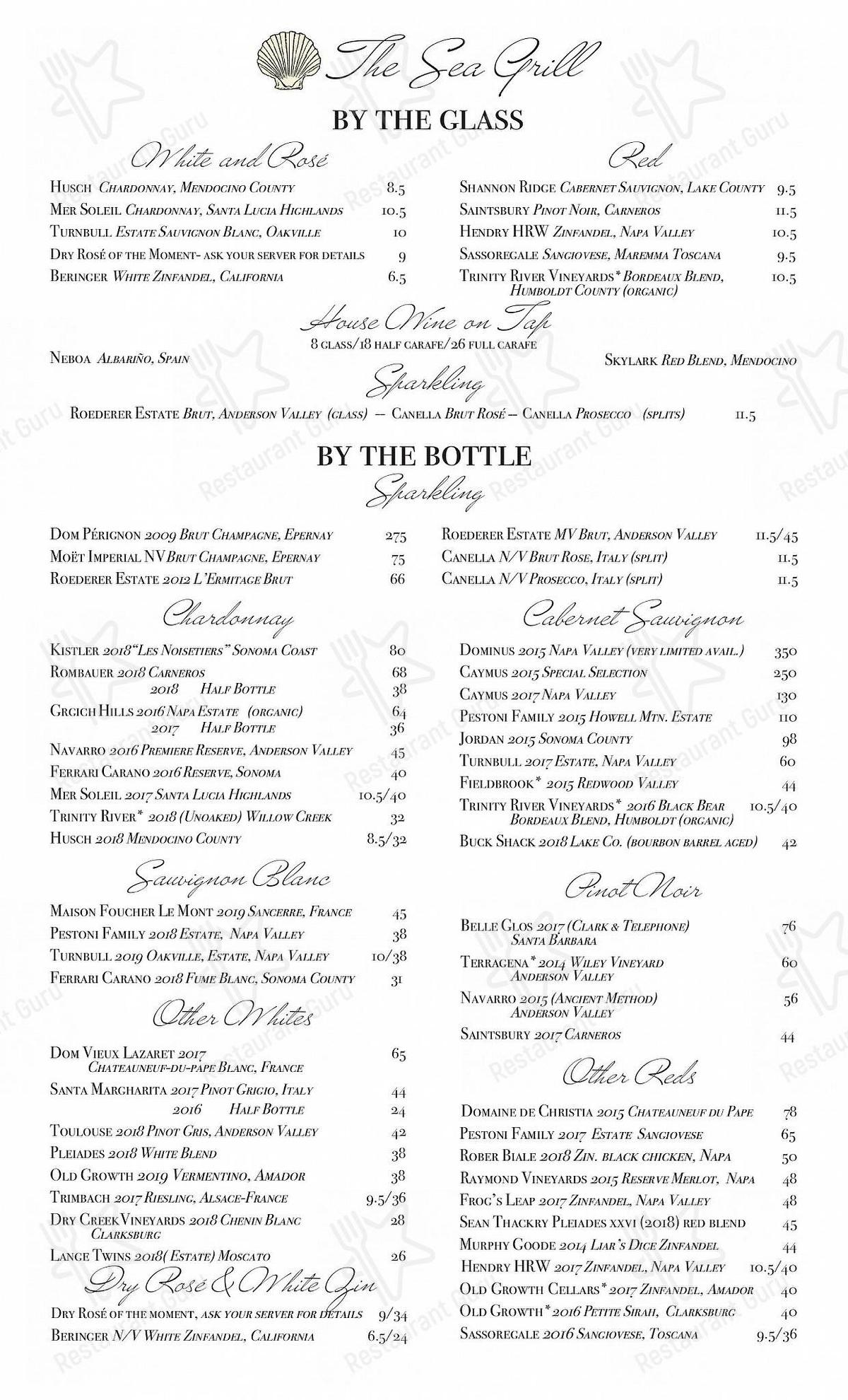 Sea Grill menu - dishes and beverages