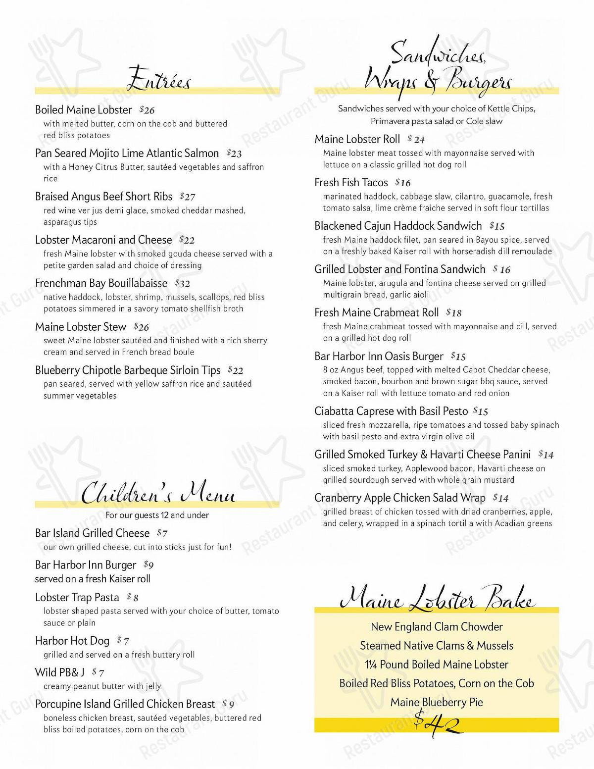 The Terrace Grille menu - meals and drinks
