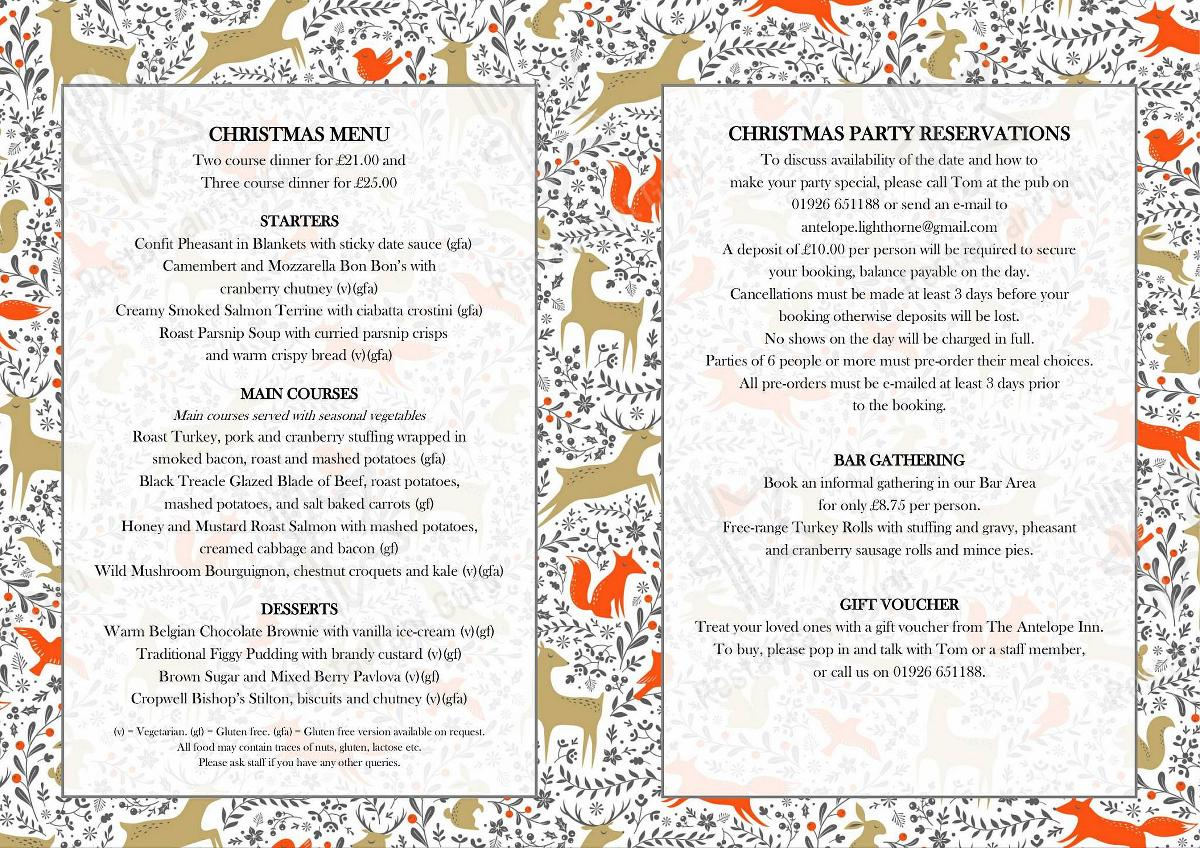 Christmas 2019 Menu for The Antelope in Lighthorne