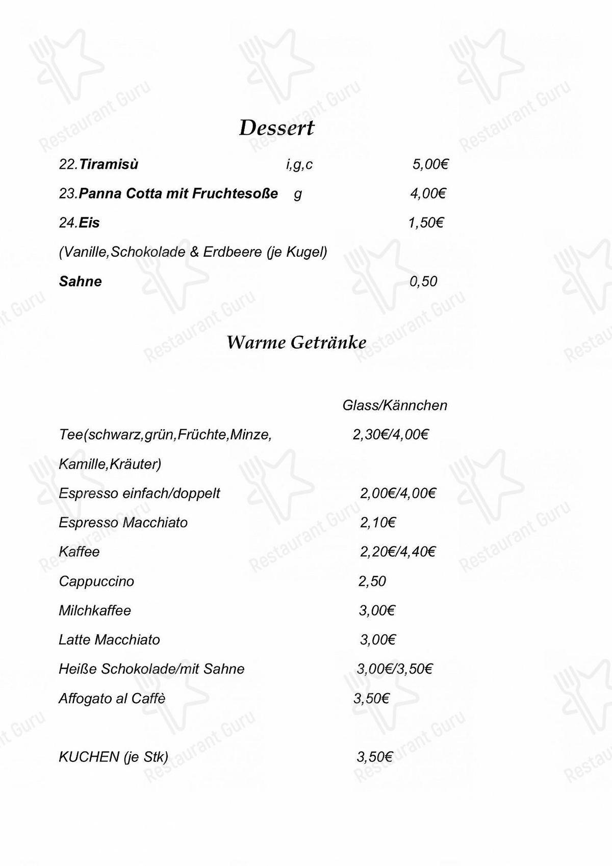 Cafe Ristorante zum Handschuh & Shopping im Modehaus Niebel en Heidelberg - Cafe Ristorante Zum Handschuh menu