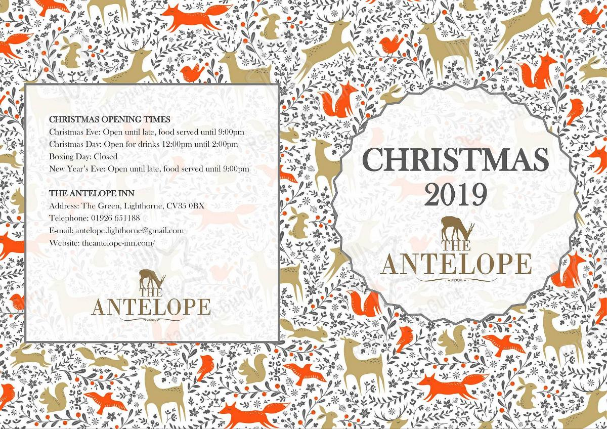 Christmas 2019 Menu for the The Antelope pub & bar