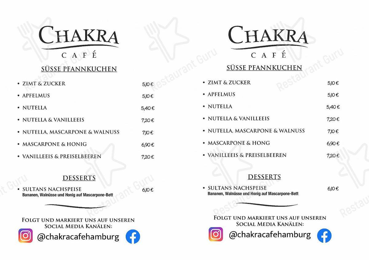 Seht euch die Speisekarte von Chakra Café an