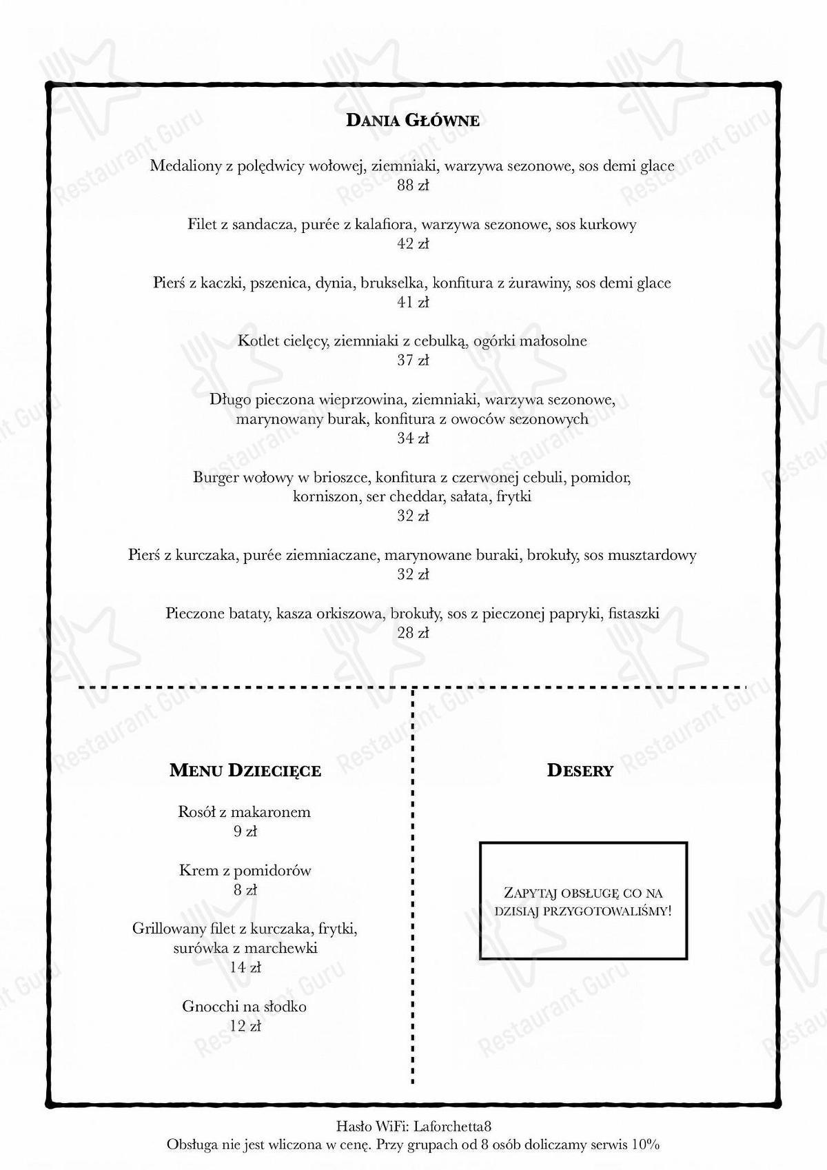 Carta de La Forchetta - comidas y bebidas