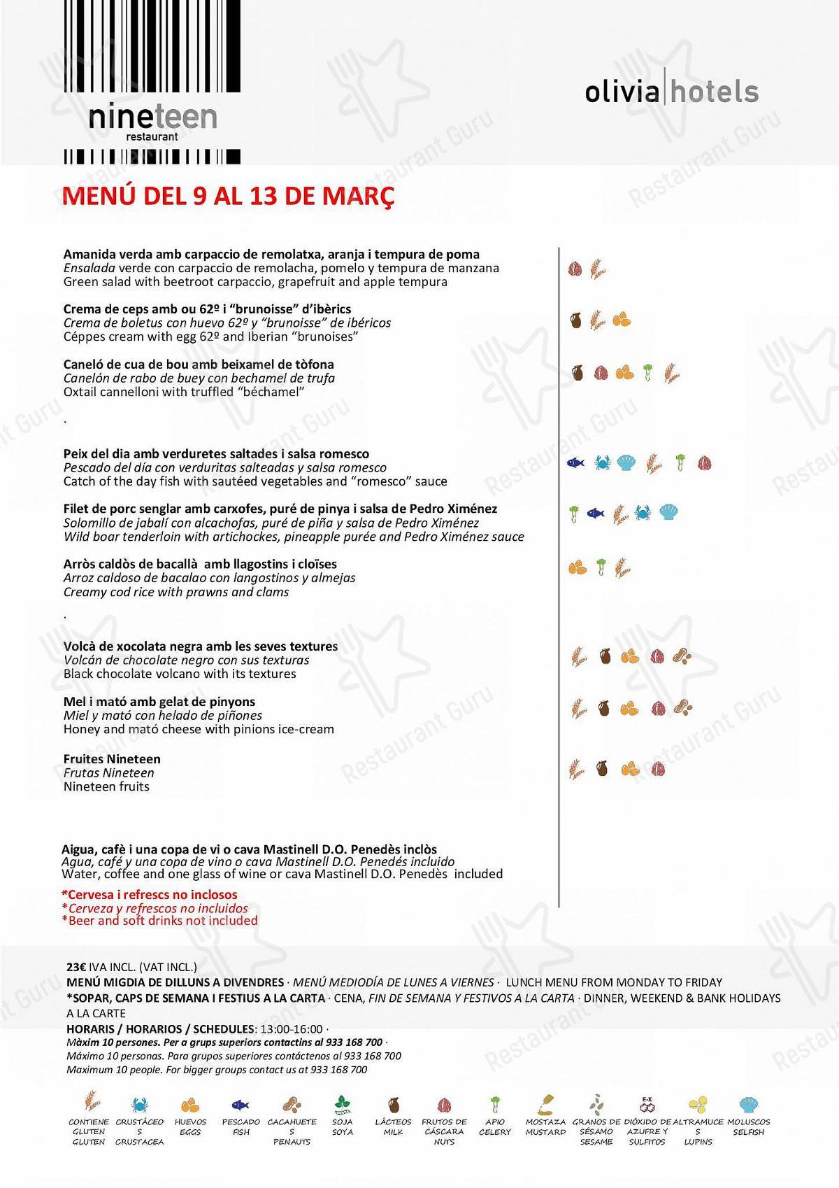 Carta de Restaurant L'Éclair