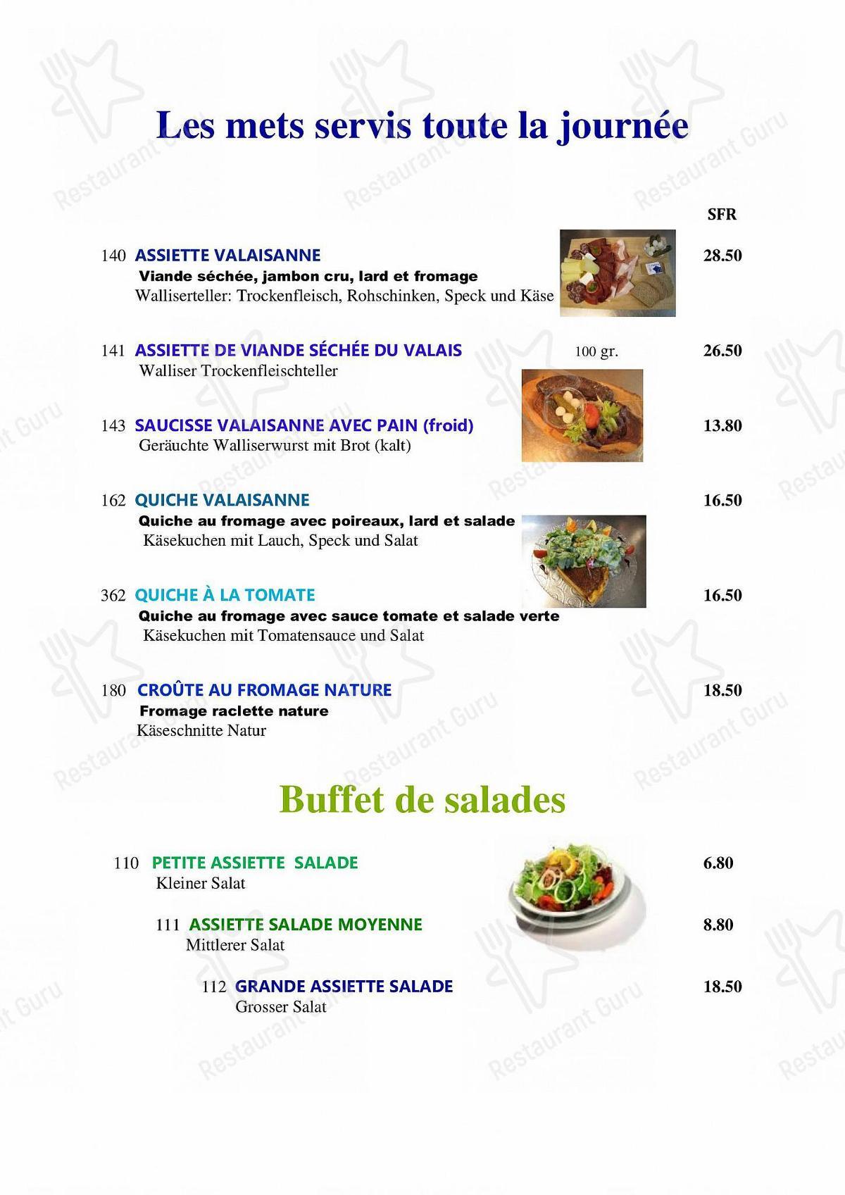 Menu pour Hôtel-Restaurant Le Relais Panoramique *** - repas et boissons