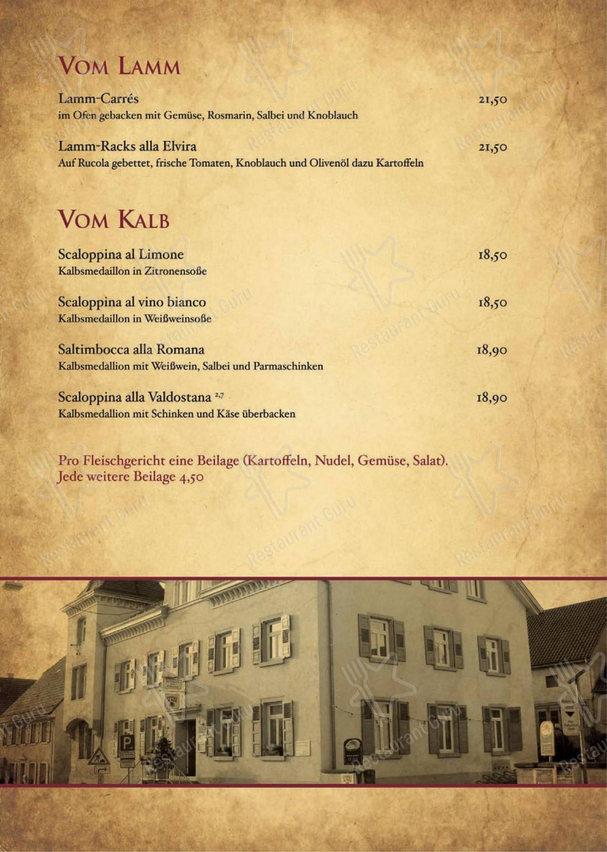 Carta de Ristorante Pizzeria Zum Schwanen - platos y bebidas