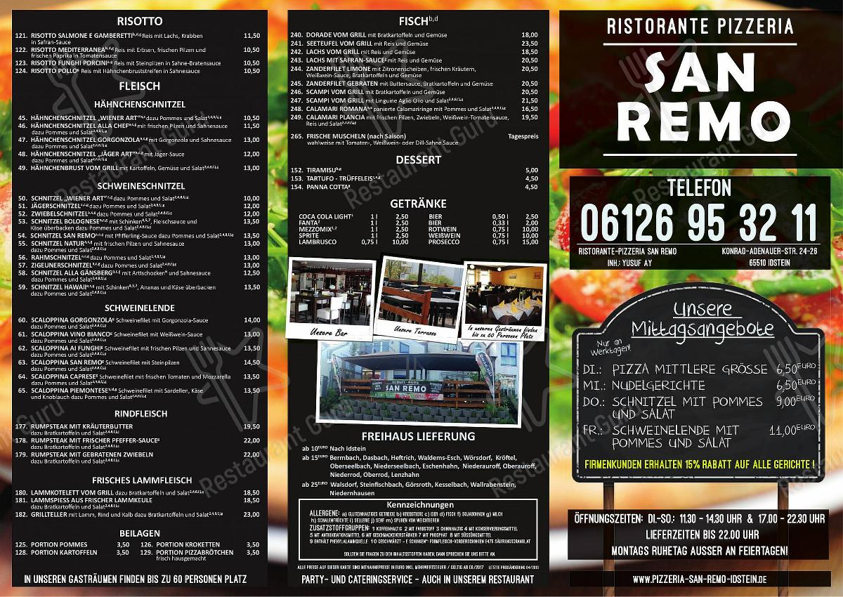 Pizzeria San Remo menu - dishes and beverages