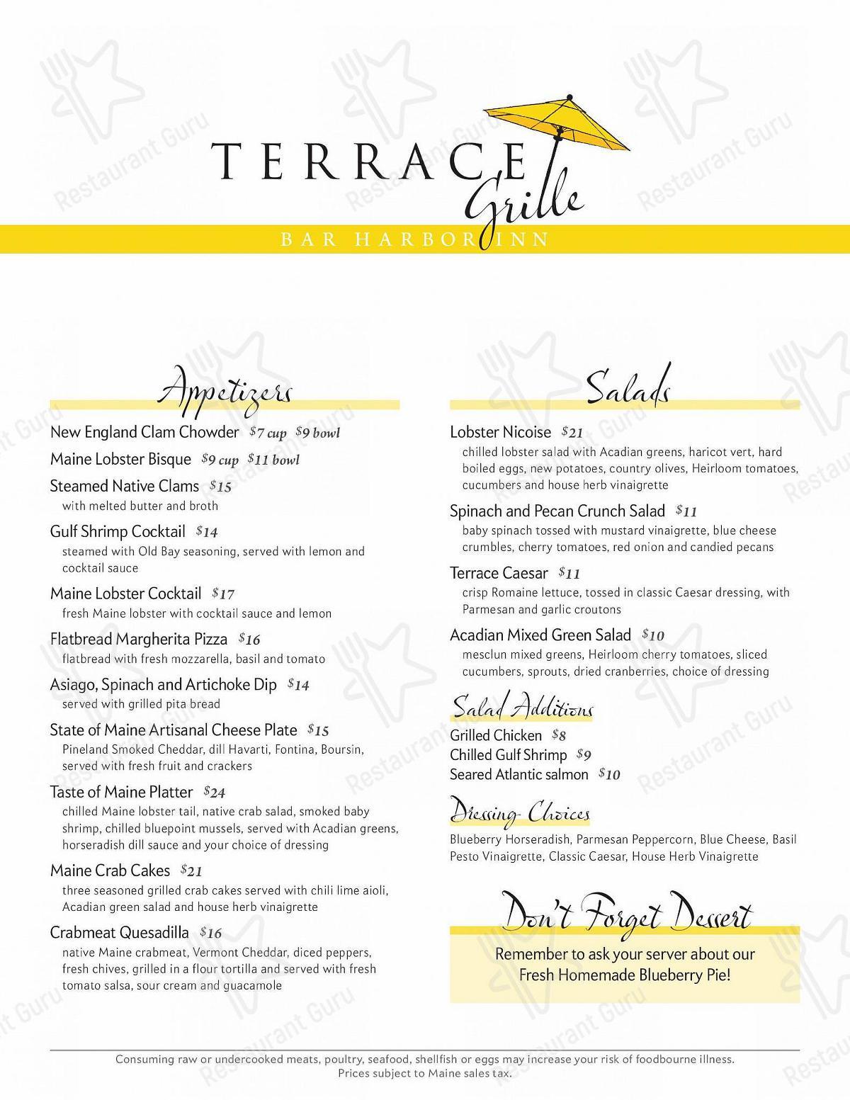 The Terrace Grille menu
