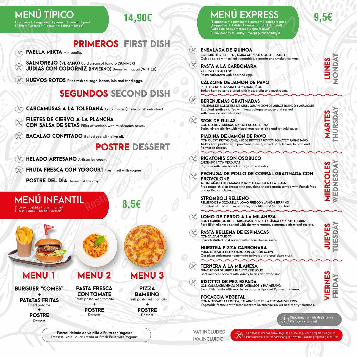 Меню для посетителей пиццерии Restaurante Pizzería COMES