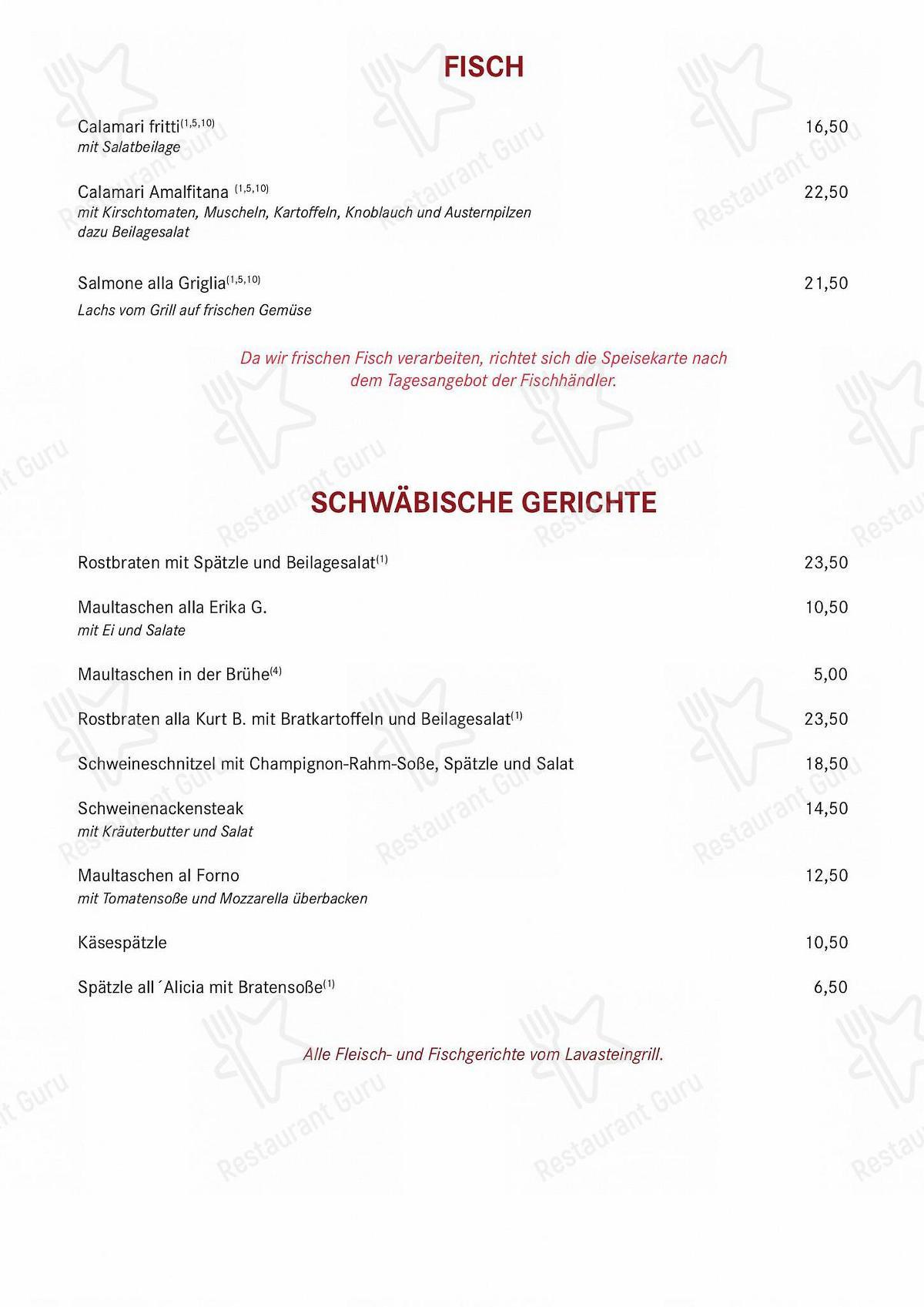 Mira la carta de Ristorante Pizzeria Zum Schwanen