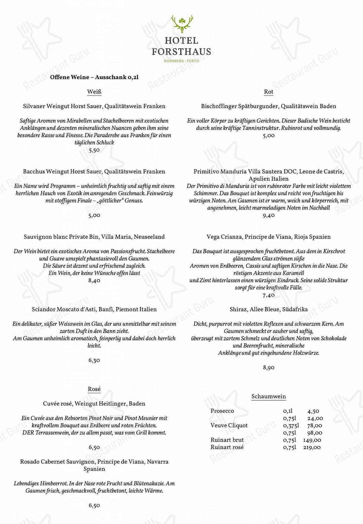 Waldrestaurant Speisekarte - Gerichte und Getränke