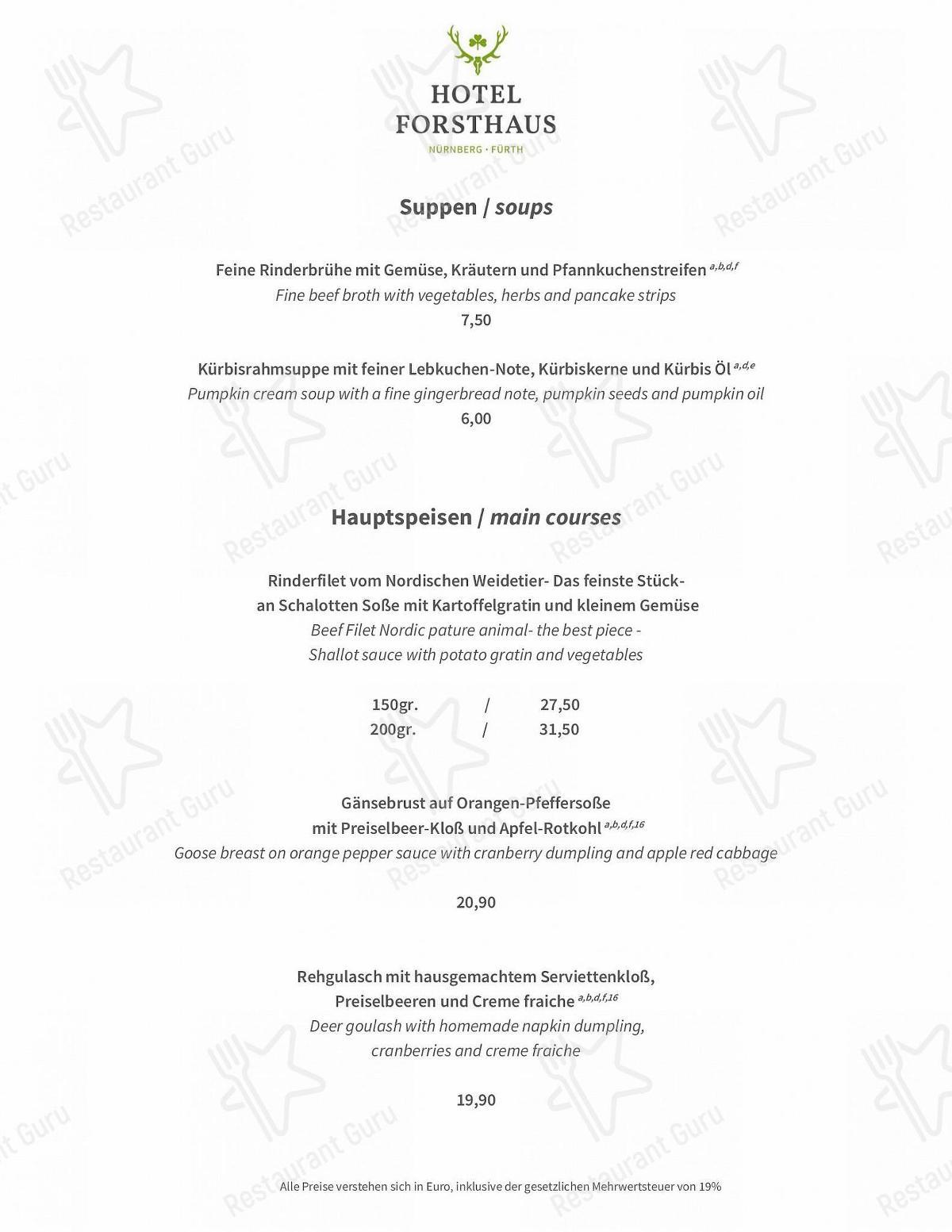 Waldrestaurant Speisekarte - Essen und Getränke