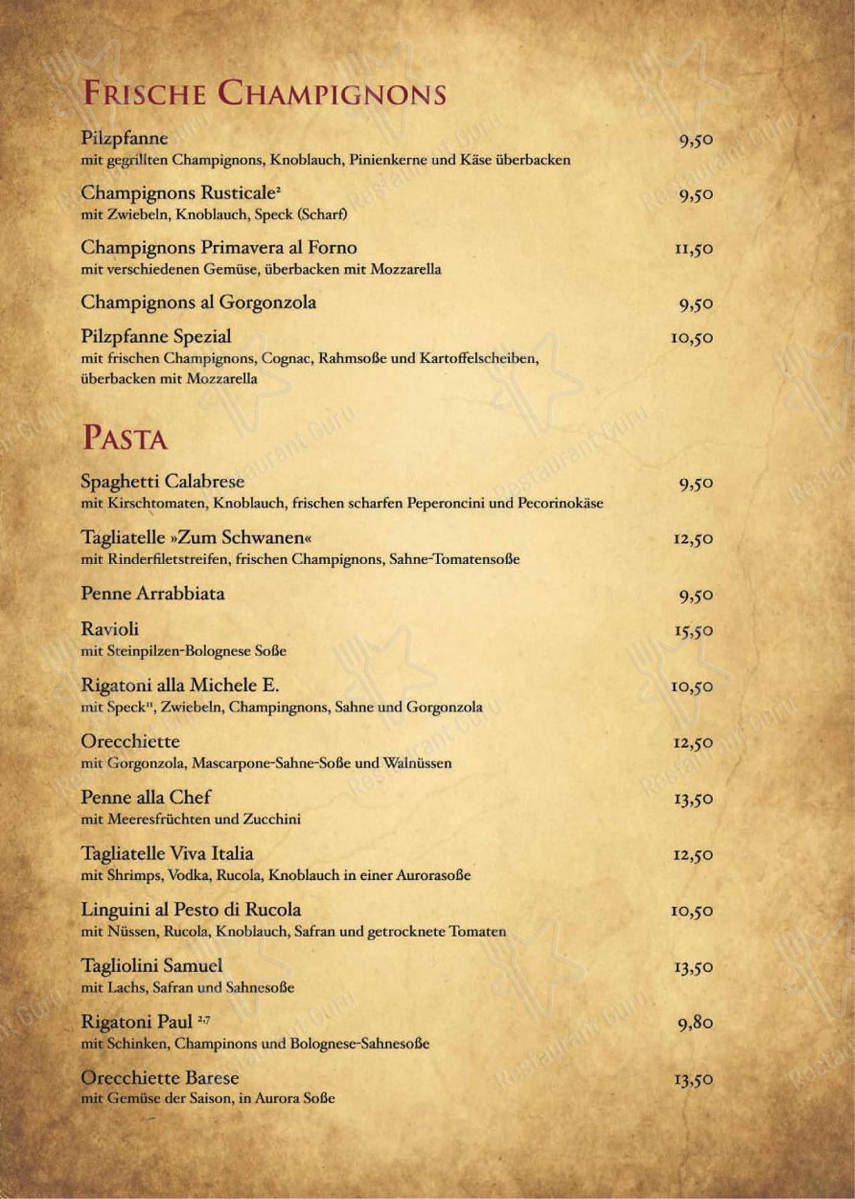 Carta de Ristorante Pizzeria Zum Schwanen restaurante