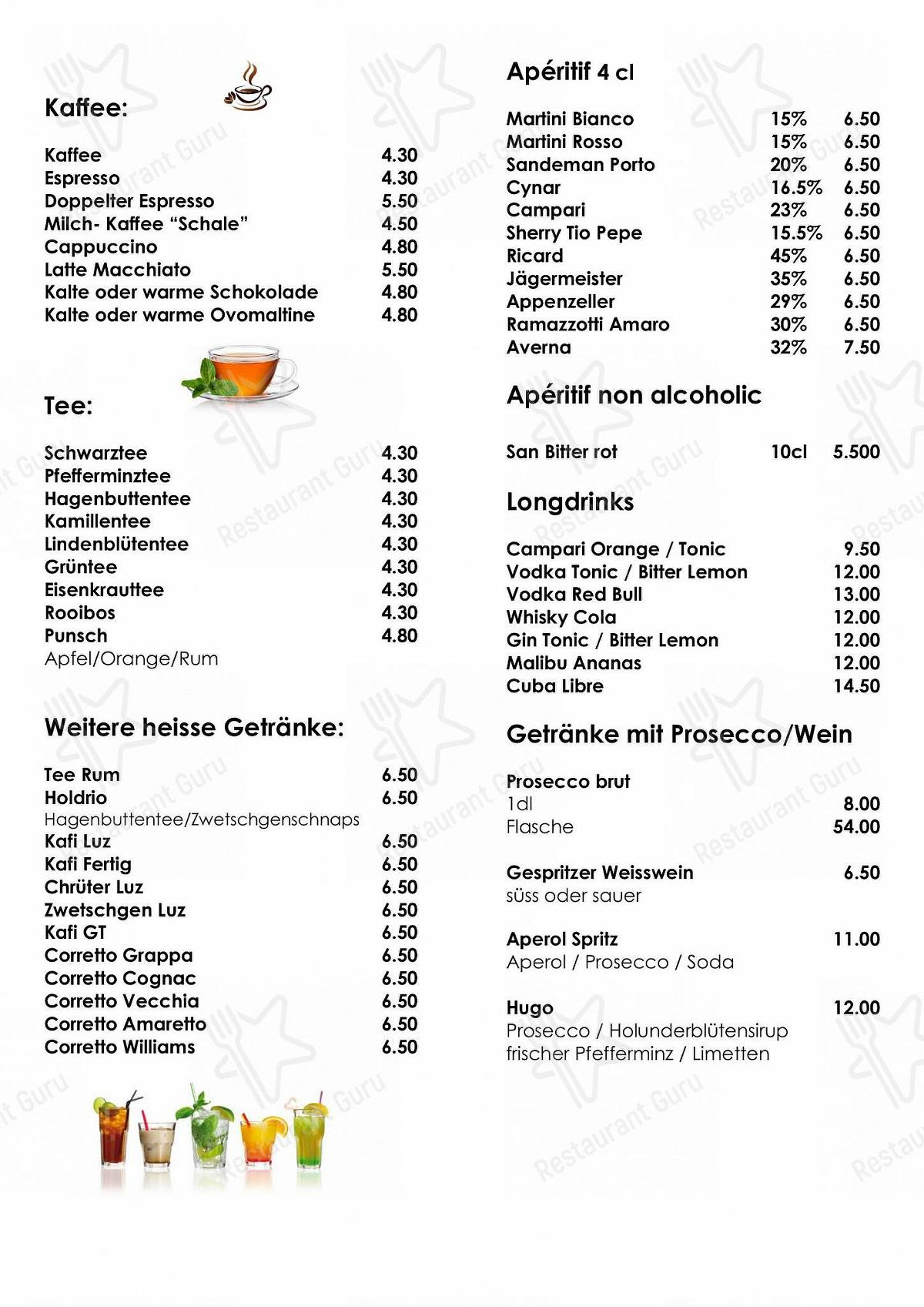 Sternen menu - dishes and beverages
