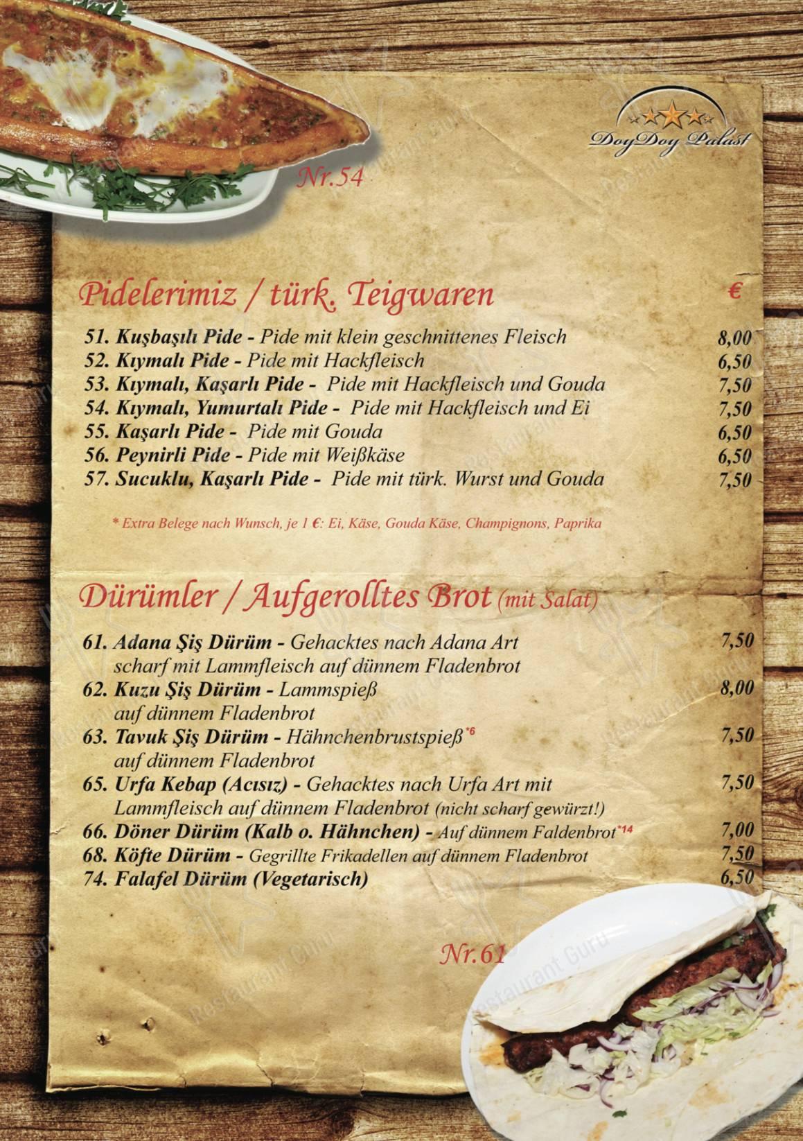 Seht euch die Speisekarte von Doy Doy Palast an