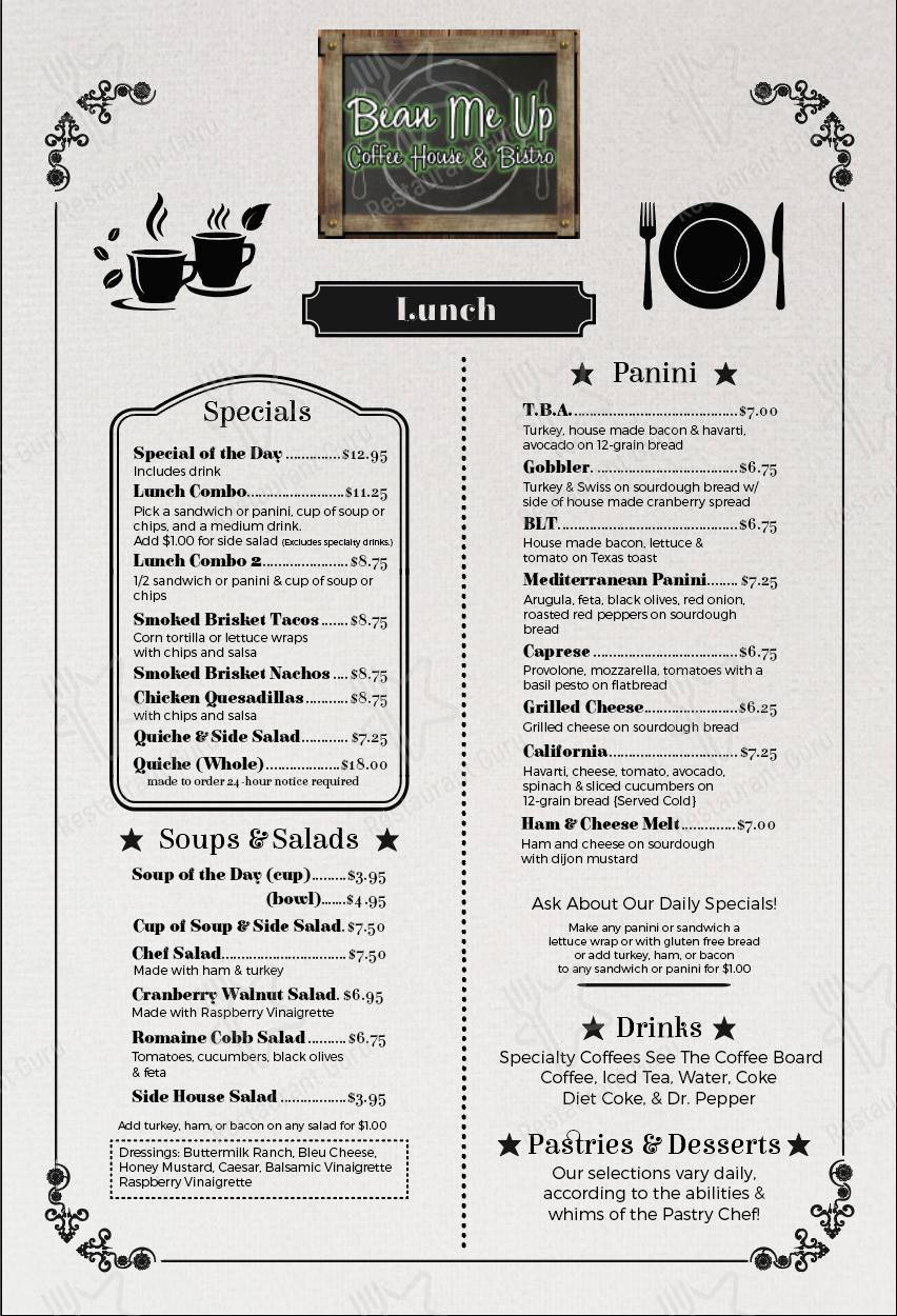 Bean Me Up menu - dishes and beverages