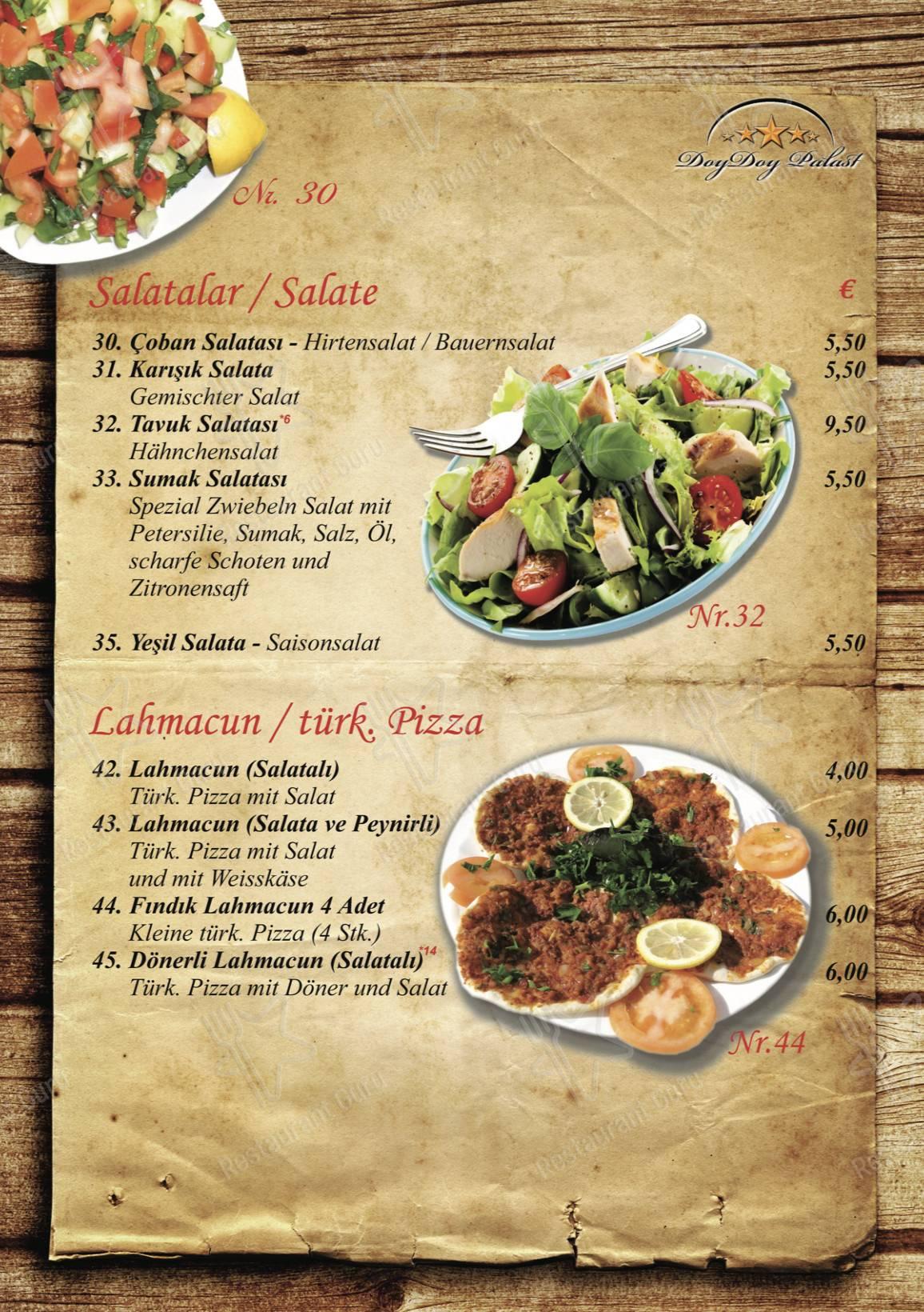 Doy Doy Palast Speisekarte - Gerichte und Getränke