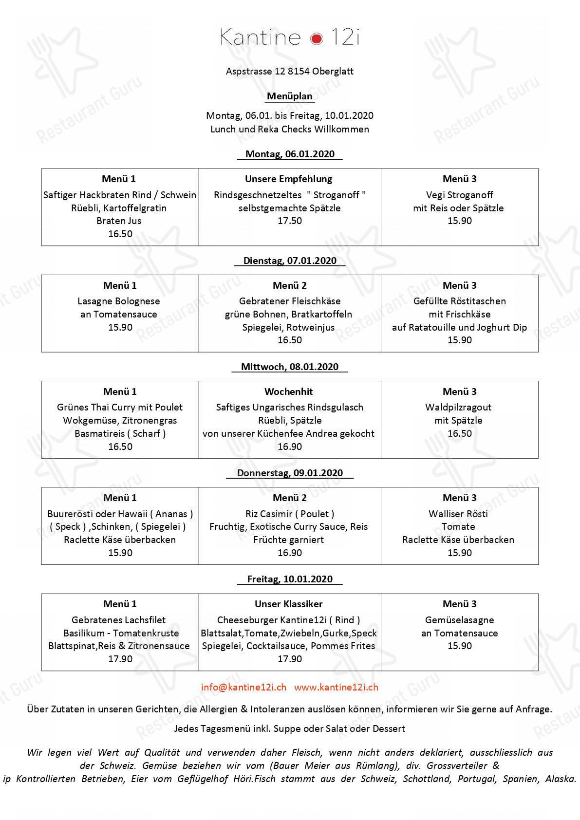 Kantine12i Speisekarte - Gerichte und Getränke