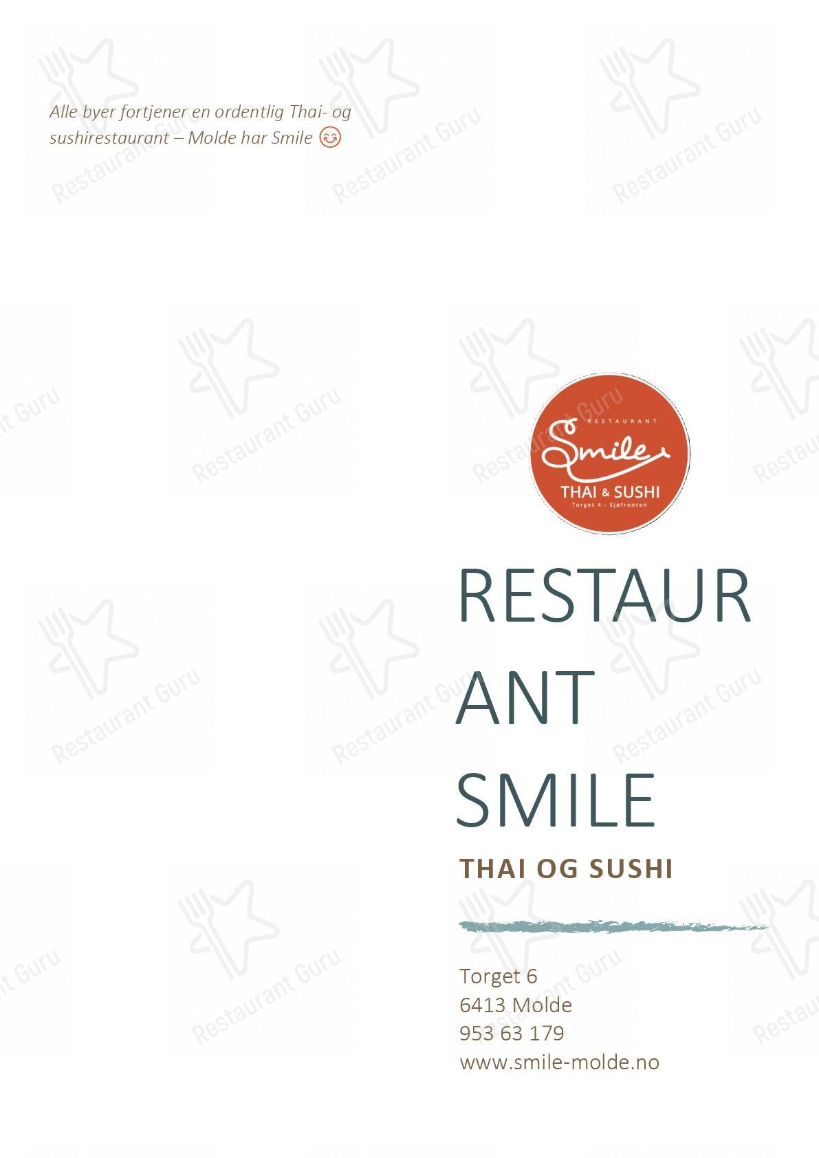 Restaurant Smile menu - meals and drinks